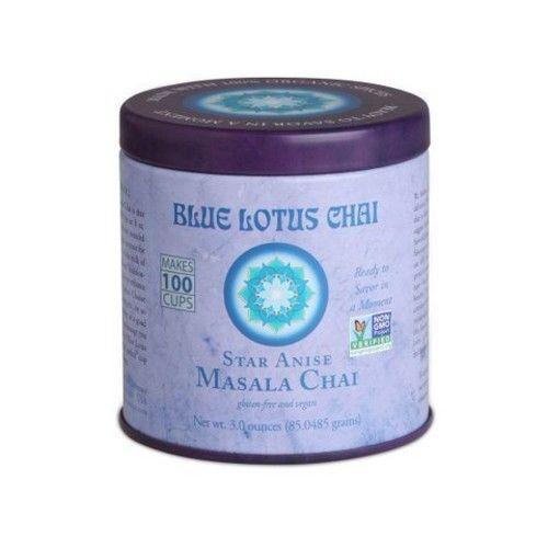Masala Chai by Blue Lotus Chai - Gluten-Free and Vegan - Star Anise Flavor - 3 Ounce Reusable Tin - Makes 100 Cups [Star Anise Masala Chai]