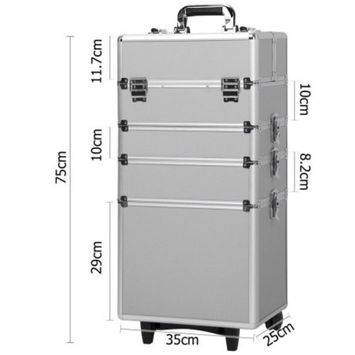 Ktaxon Portable 4 in 1 Interchangeable Aluminum Rolling Space-Saving Makeup Case Box on Wheels
