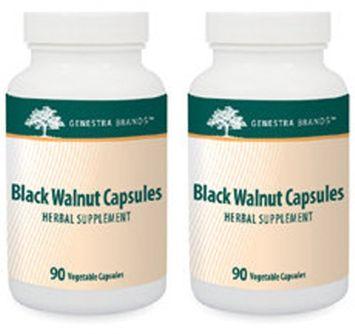 Genestra - Black Walnut Capsules 90 VegCapsules 2 PACK 07546 Exp.9.18+ SD