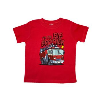INKtastic - Big Brother Fire Truck Toddler T-Shirt [name: actual_color value: actual_color-red]
