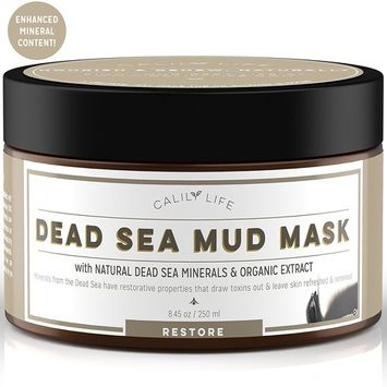 Calily Life Organic Dead Sea Mud Mask, 8. 5 Oz. - Deep Skin Cleanser – Face & Body Treatment – Cleanses Pores - Revitalizes Skin with a Youthful Glow - Eliminates Acne, Wrinkles, Cellulite [ENHANCED]