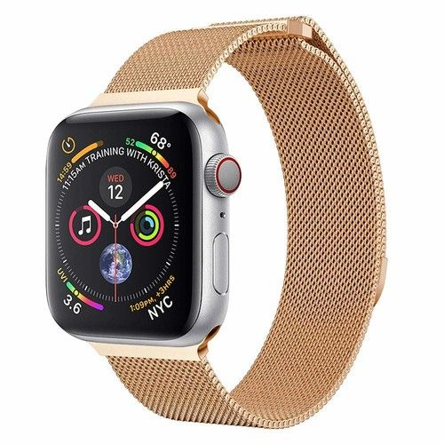 gessing Leless For Apple Watch Series 4 40/44MM Milanese Stainless Steel Magnetic Watch Band comfortable Easy to adjust the length to fit your wrist (40MM, Rose G