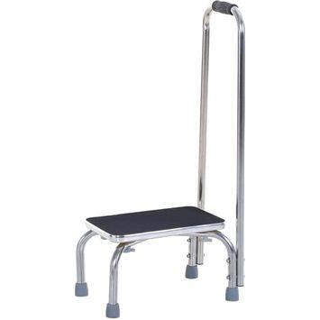 Marche avec barre d'appui - marchepied de sécurité - marche d'accès au bain - plateforme ET patins antidérapants - acier galvanisé