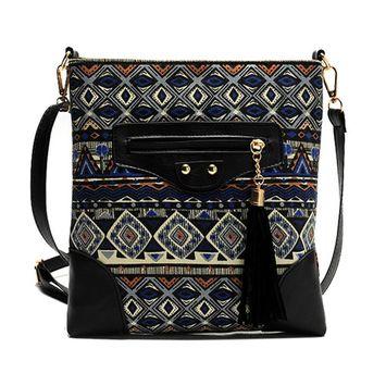 Rustic Messenger Bag,Coofit Canvas Shoulder Bag Travel Bag School Bag Daypacks with Tassel for Girls Women