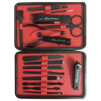 Mens Manicure Set - Nail Clippers 16 In 1 Nail Kit Stainless Steel Professional Pedicure Kit Nail Scissors Grooming Kit with Black Leather Travel Case Tools Gift (Red)