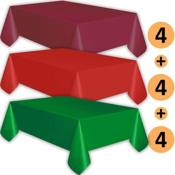 12 Plastic Tablecloths - Burgundy, Red, Emerald Green - Premium Thickness Disposable Table Cover, 108 x 54 Inch, 4 Each Color