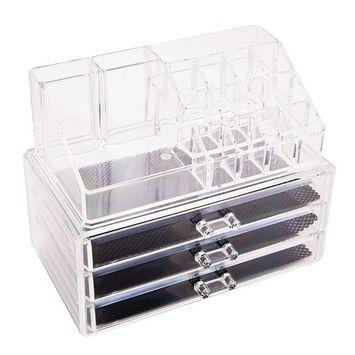 Ktaxon Makeup Cosmetic Organizer Case Drawers Holder Storage Box Jewelry w/ 3 Drawer