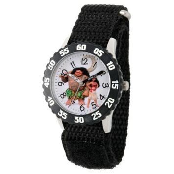 Boys' Disney Moana and Maui Stainless Steel Time Teacher Watch - Black