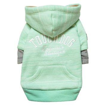 Touchdog Hampton Beach Designer Sand-Blasted Cotton Dog Hoodie Sweater Green