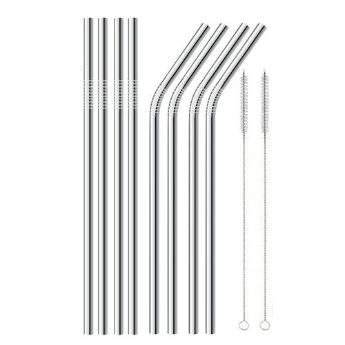 Stainless Steel Straws Set of 8, Alotpower Ultra Long 10.5'' Drinking Metal Straws for 20 30oz Stainless Tumblers Rumblers Cold Beverage (4 Straight + 4 Bent + 2 Brushes)