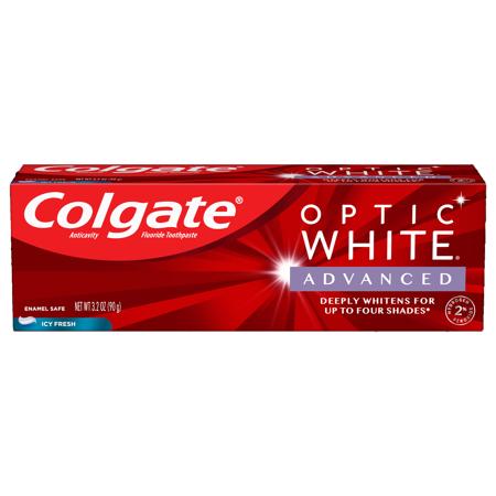 Colgate Optic White Advanced Teeth Whitening Toothpaste, Icy Fresh, 3.2 Oz
