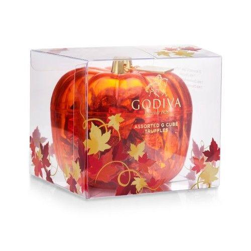 Chocolatier Assorted G Cubes in Pumpkin Candy Dish