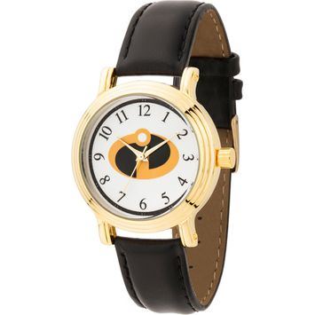 Incredibles Women's Gold Vintage Alloy Watch, Black Leather Strap