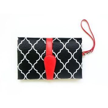EsTong Baby Portable Diaper Changing Pad Waterproof Change Mat Clutch Travel Kit Black