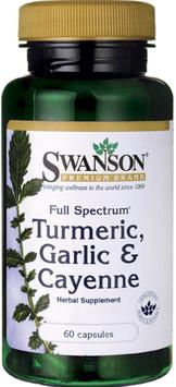 Swanson Premium Full Spectrum Turmeric, Garlic and Cayenne, 200 mg, 60 Ct