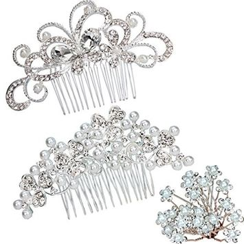 SuPoo 2 Pack Bridal Wedding Hair Combs with 20 pieces Hair Pins Flower rhinestones Crystal Pearl Hair Combs Silver Bridal Wedding Hair Clip For women For girls