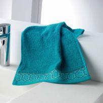 Cdaffaires Serviette invite 30 x 50 cm eponge unie jacquard adelie Bleu