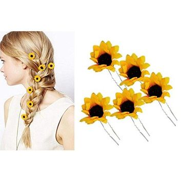 10PCS Yellow Hawaii Sunflower Hairpins Hair Pin Hair Clamp Hair Clips Hair Clasp Hair Holder Barrettes Hair Styler Styling Accessories for Party Beach Vacation Wedding Bridal for Women Lady Girls