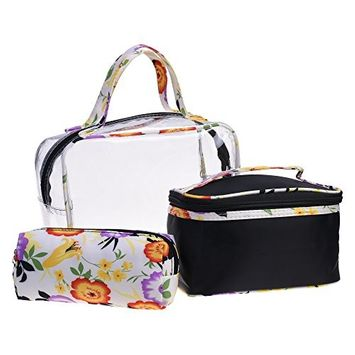 BCP 3 Pieces Flower Pattern PVC Waterproof Handle Travel Toiletry Organizer Cosmetic Makeup Storage Bag Set With Mirror