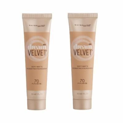 Maybelline Dream Velvet Soft Matte Hydrating Foundation, Pure Beige #70 (Pack of 2) + Eyebrow Ruler