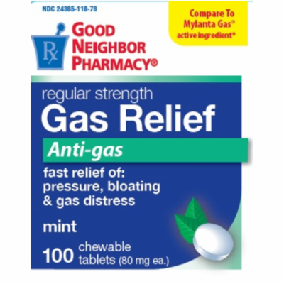 GNP Gas Relief Anti-gas 100 Chewable Tablets Pressure, Bloating & Gas Distress