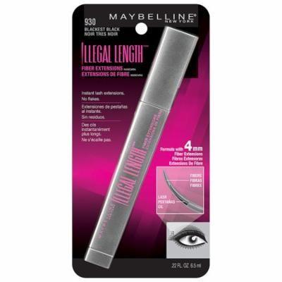 Pack of 6-Maybelline Illegal Lengths Fiber Extensions Washable Mascara, Blackest Black0.22 oz