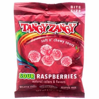 New 378367 Tangy Zangy Sour Raspberries 4 Oz (24-Pack) Candy Bag Cheap Wholesale Discount Bulk Candy Candy Bag