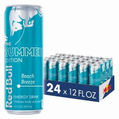 (24 Cans) Red Bull Energy Drink, Beach Breeze, 24 Pack of 12 Fl Oz, Summer Edition