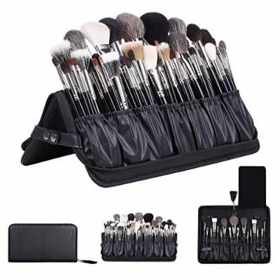 Rownyeon Professional Makeup Brushes Organizer Bag Makeup Artist Cosmetic Case Leather Makeup Handbag Black Travel Portable(Only Bag) Large