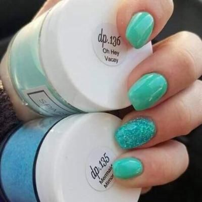 Sparkle & Co. Dip Powders -dp.136 Oh Hey Vacay (Glow Teal/Turquoise)