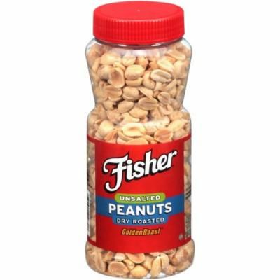 FISHER Snack Unsalted Dry Roasted Peanuts, Golden Roast, 14 oz Flavor No Salt 14 Ounce
