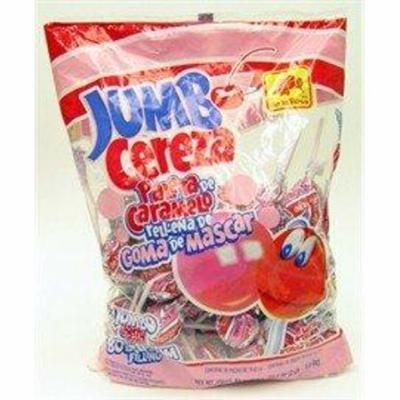 De La Rosa Paleta Jumbo Cereza, Paletas De Caramelo Relleno Con Chicle, 50 Count Bag