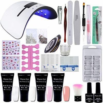 Warm Girl 4 Colors Poly Nail Gel Kit with 36W UV LED Nail Lamp Nail Extension Gel Nail Polish Professional Kits