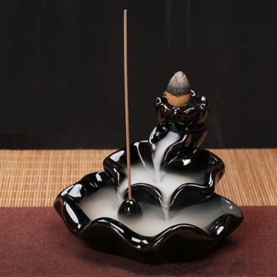 Meigar Ceramic Glaze Incense Smoke Cone Burner Backflow Censer Tower Holder Home Office Decor