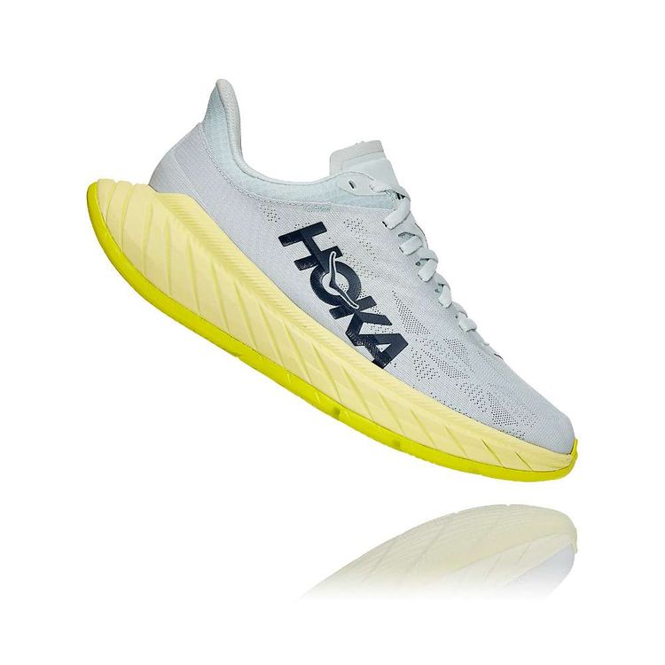 Hoka One One Women's Carbon X 2 Shoe - 9 - Blue Flower / Luminary Green