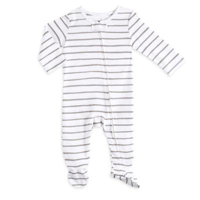 Aden® by Aden + Anais® Size 0-3M Zip-Front Stripe Footie in Grey/White