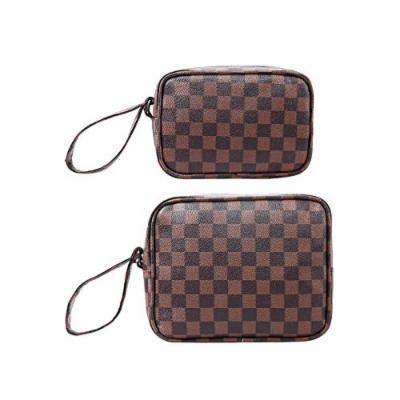 CIEN Luxury Checkered Pattern Make Up Bag PVC Leather Travel Toiletry Cosmetic bag