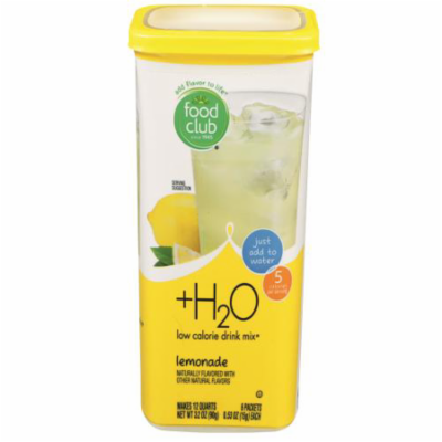 Food Club, +h2o, Low Calorie Drink Mix, Natural Lemonade