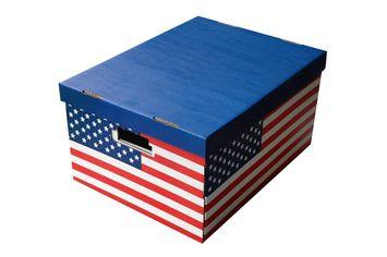Lot de 2 boites en carton p40xl31xh21cm décor USA