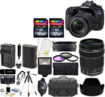 Canon EOS 80D Digital SLR 24.2MP Wi-Fi Camera Kit with EF-S 18-135mm IS USM Lens + 32GB & 16GB Card + Case + Flash + Tripod + Grip + Spare Battery & Charger + Filters - 48GB Accessories Bundle