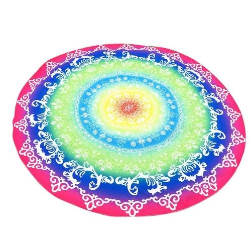 Usstore 1PC Round Multicolor Printing Tapestry Beach Towel Mat Wall Hanging Beach Bathing Suit Wall Hanging Bedspread Cloth Mat Throw Decor