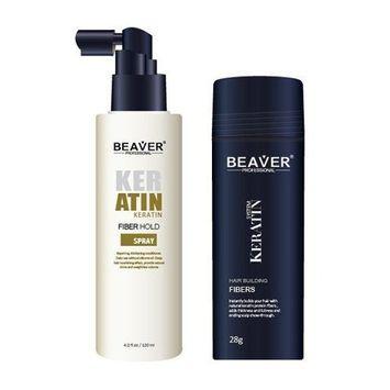 Beaver Keratin Hair Building Fibers + Fibers Holder Spray (Medium Blonde)