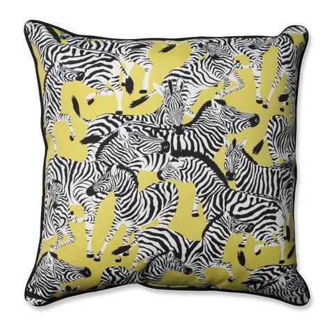 Pillow Perfect 593883 Indoor-Outdoor Herd Together Wasabi Floor Pillow, Yellow - 25 in.
