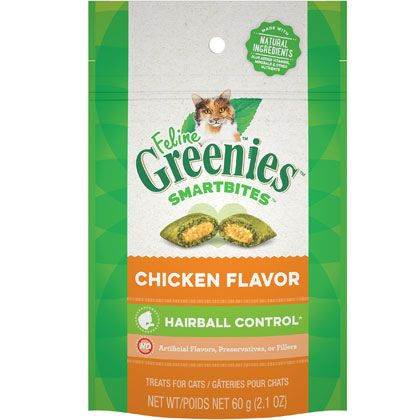 "FELINE GREENIESâ""¢ SMARTBITESâ""¢ Hairball Control Treats Chicken Flavor"