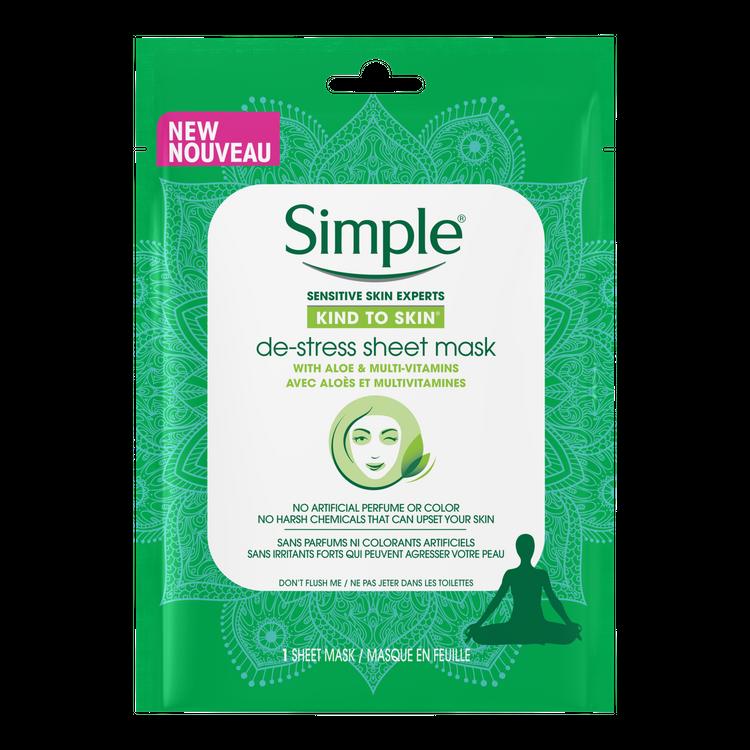 Simple Masque en feuille anti-stress Kind to Skin