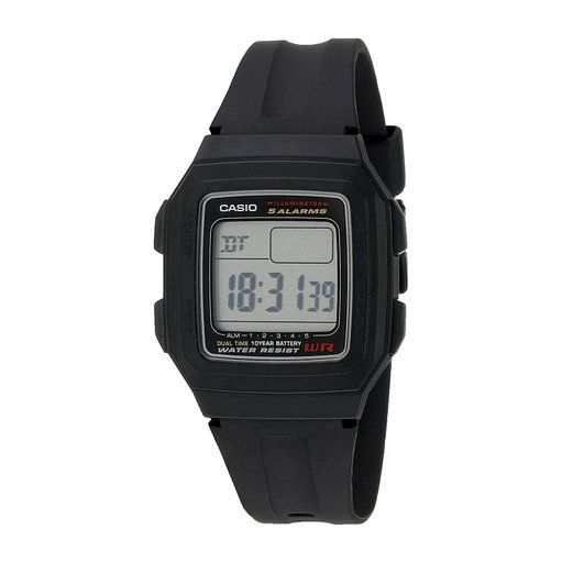 Casio F201WA-1AV Men's Dual Time Digital Sports Watch w/ 4 Multi-Function Alarms