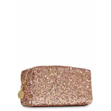 Bath and Body Works Rose Gold Glitter Cosmetic Bag.