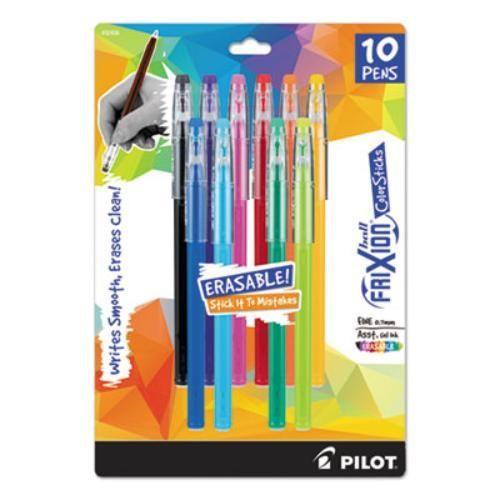 FriXion ColorSticks Erasable Gel Ink Pen Fine 0.7 mm Assorted Ink 10/PK