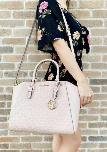 Michael Kors Ciara Saffiano Large Top Zip Satchel Ballet Pink MK Signature