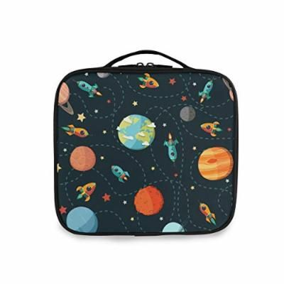Rocket Earth Mars Space Colorful Case,Portable Organizer Makeup Bag Train Case Adjustable Dividers for Cosmetics Makeup Brushes Portable Storage Large capacity Storage box Popular Fashion